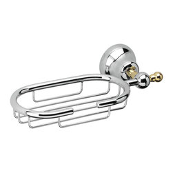 "WS Bath Collections - WS Bath Collections Sissi 0521 Shower Basket - Sissi 0521, 9.4"" x 4.7"" x 2.4"", Shower Basket in Polished Chrome and Gold"