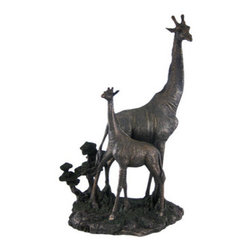 Mother And Child Giraffe Statue Baby Figure Animal - This beautiful cold cast resin statue of a giraffe and her baby is quite lifelike. The statue measures 17 1/2 inches tall, 11 inches long and 8 inches wide. It has a wonderful bronzed finish that gives it the look of metal, and has hand-painted accents to show off the incredible detail. It`s a must have for giraffe lovers and makes a great gift for new Moms.