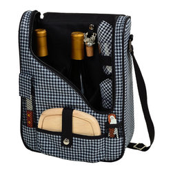 Picnic at Ascot - Houndstooth Pattern Pinot Wine and Cheese Cooler with Glasses - Features: