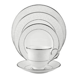 Lenox Opal Innocence Platinum-Banded Bone China 5-Piece Place Setting - This simple, classic and elegant dinnerware is for a holiday or a Sunday dinner.