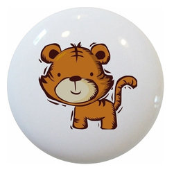 Carolina Hardware and Decor, LLC - Kid's Tiger Ceramic Cabinet Drawer Knob - New 1 1/2 inch ceramic cabinet, drawer, or furniture knob with mounting hardware included. Also works great in a bathroom or on bi-fold closet doors (may require longer screws).  Item can be wiped clean with a soft damp cloth.  Great addition and nice finishing touch to any room.
