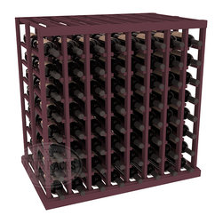 Double Deep Tasting Table Wine Rack Kit in Pine with Burgundy Stain - The quintessential wine cellar island; this wooden wine rack is a perfect way to create discrete wine storage in open floor space. With an emphasis on customization, install LEDs or add a culinary grade Butcher's Block top to create intimate wine tasting settings. We build this rack to our industry leading standards and your satisfaction is guaranteed.