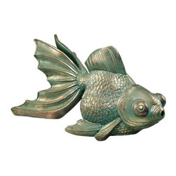 Design Toscano - Design Toscano Butterfly Asian Koi Piped Spitter Statue Multicolor - EU533068 - Shop for Statues and Sculptures from Hayneedle.com! The exclusive Design Toscano Butterfly Asian Koi Piped Spitter Statue makes your garden or fish pond all the more serene with its ornate appearance and calming water music. Cast in high-quality designer resin this symbol of grace beauty and abundance features lifelike sculpted details and a finish that brings an antiqued look to your tranquil retreat. Made specifically for outdoor use this spitter statue with 12-millimeter copper pipe inserts is weather-resistant and can be easily installed into the existing plumbing to create a delightful bubbling jet. An optional 240-gallon pump with additional tubing is sold separately.About Design ToscanoDesign Toscano is the country's premier source for statues and other historical and antique replicas which are available through the company's catalog and website. Design Toscano's founders Michael and Marilyn Stopka created Design Toscano in 1990. While on a trip to Paris the Stopkas first saw the marvelous carvings of gargoyles and water spouts at the Notre Dame Cathedral. Inspired by the beauty and mystery of these pieces they decided to introduce the world of medieval gargoyles to America in 1993. On a later trip to Albi France the Stopkas had the pleasure of being exposed to the world of Jacquard tapestries that they added quickly to the growing catalog. Since then the company's product line has grown to include Egyptian Medieval and other period pieces that are now among the current favorites of Design Toscano customers along with an extensive collection of garden fountains statuary authentic canvas replicas of oil painting masterpieces and other antique art reproductions. At Design Toscano attention to detail is important. Travel directly to the source for all historical replicas ensures brilliant design.