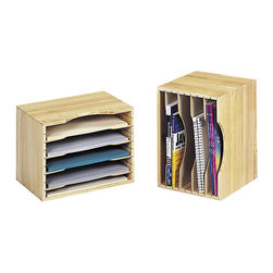 """Safco - Safco Light Oak Wood Stackable Sorter - Safco - Desktop Organizers - 3626LO - This solid wood stackable desk organizer can be used horizontally for literature vertically for books or upright as a tub-file for file folders. Constructed of solid wood with four removable hardboard dividers that adjust in 1"""" increments can create up to five compartments. Easily holds letter-size file folders. Modular design expands storage capacity to increase space. Soft rubber pads protect desk surfaces."""