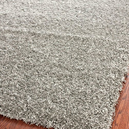 "Safavieh - Shag California Shag Square 6'7"" Square Silver Area Rug - The California Shag area rug Collection offers an affordable assortment of Shag stylings. California Shag features a blend of natural Silver color. Hand Tufted of Acrylic the California Shag Collection is an intriguing compliment to any decor."