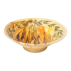 Abigails - Le Moulin Marbleized Bowl - A beautifully handmade ceramic bowl rimmed with a traditional raised olive design.  The marbleized pattern is achieved by working the design so that each piece will have its own signature.