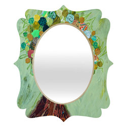 "DENY Designs - Elizabeth St Hilaire Nelson Spring Tree Quatrefoil Mirror - Mirror, mirror on the wall. Whos the fairest one of all? Well thats easy our quatrefoil mirror, of course! With a sleek mix of engineered wood trim thats unique to each piece and a glossy aluminum frame, the quatrefoil mirror makes you feel oh so pretty every time you catch a glimpse.Features: -Mirror. -Elizabeth St Hilaire Nelson Spring Tree collection. -Face: High gloss aluminum with UV resistant coating. -Frame material: Engineered wood. -Quality glass mirror. -Mounting: Wire mount with picture hanger included. -Custom printed for every order. -Made in the USA.Dimensions: -14.2"" H x 16.6"" W x 1.5"" D: 10 lbs. -23.6"" H x 28"" W x 1.5"" D: 15 lbs. -30.6"" H x 36"" W x 1.5"" D: 20 lbs."