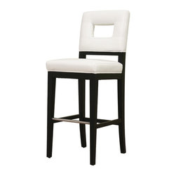 Wholesale Interiors - Faustino White Leather Barstool - Drawing inspiration from geometry, this contemporary leather bar stool offers a modern update to your home. The frame is sturdily constructed with wood and comfortably padded with foam cushioning. Bright white leather with edges finished in matching piping lends a classic touch to your space and is paired with black legs. Opaque non-marking feet give sensitive flooring additional protection. This item will arrive fully assembled.
