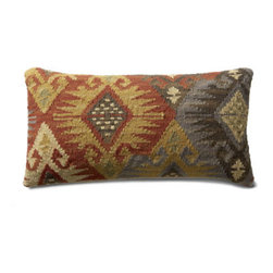 """Grandin Road - Izmir Kilim Throw Pillow - 11"""" x 21"""" - Durable cotton backing. Zippered closure. Plump polyester fill. Dry clean only. Exciting patterns and rich colors make our Kilim Indoor Throw Pillows timeless favorites. Covers are crafted on traditional kilim looms, making each pillow a one-of-a-kind creation.  .  .  .  . Imported."""