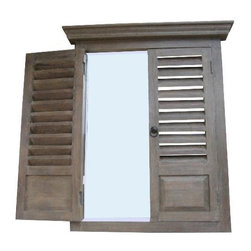 Accessories Abroad - Accessories Abroad Louvered Door Mirror - Accessories Abroad Louvered Door Mirror Brown. Materials used are glass, MDF, wood. This is a beautiful and unique piece. Enjoy it in your home today!