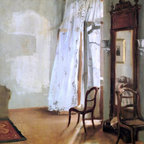 """Adolph Von Menzel Interior of a Room with Balcon   Print - 16"""" x 20"""" Adolph Von Menzel Interior of a Room with Balcon premium archival print reproduced to meet museum quality standards. Our museum quality archival prints are produced using high-precision print technology for a more accurate reproduction printed on high quality, heavyweight matte presentation paper with fade-resistant, archival inks. Our progressive business model allows us to offer works of art to you at the best wholesale pricing, significantly less than art gallery prices, affordable to all. This line of artwork is produced with extra white border space (if you choose to have it framed, for your framer to work with to frame properly or utilize a larger mat and/or frame).  We present a comprehensive collection of exceptional art reproductions byAdolph Von Menzel."""