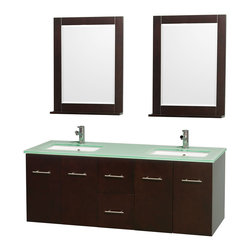 "Wyndham Collection - Centra 60"" Espresso Double Vanity, Green Glass Top, Undermount Square Sinks - Simplicity and elegance combine in the perfect lines of the Centra vanity by the Wyndham Collection. If cutting-edge contemporary design is your style then the Centra vanity is for you - modern, chic and built to last a lifetime. Available with green glass, pure white man-made stone, ivory marble or white carrera marble counters, with stunning vessel or undermount sink(s) and matching mirror(s). Featuring soft close door hinges, drawer glides, and meticulously finished with brushed chrome hardware. The attention to detail on this beautiful vanity is second to none."