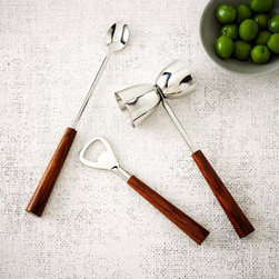 Wood Handle Bar Tools Set - Bar carts are all the rage these days, but you need to make sure you have the necessary tools to make all those yummy cocktails. These are by far my favorite set that I've seen. The dark wooden handles look so sophisticated.