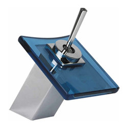 Renovators Supply - Faucets Blue Chrome Square Waterfall Faucet - Single Hole Faucets: Water flows beautifully between the glass lips. Use these faucets with recessed or above-counter sinks. All faucets are solid brass, chrome-plated construction and have a top rated 500,000 cycle cartridge. Tempered square glass disks match our glass vessels' color schemes.