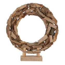 """Benzara - The Beautiful Wood Circle Deco - Do you want a decor item that will add uniqueness to you ambience? Want a deco item that will catch the attention of one and all? Well, now you can do just that with the help of the wood circle deco. In what looks like a garland, this deco has been made from woof that looks like driftwood. Attached to a stand, this deco item can be moved easily and placed on a surface with ease. Add to all that the fact that this deco has been made using quality materials and what you get is a great product. Most who see it will be baffled at first, but upon thinking and reflecting they will see the beauty in it. Perfect as a gift for someone you admire: this will be like giving them a garland. . Wood circle deco dimensions: 22 inches (W) x 4 inches (D) x 24 inches (H); Wood circle deco color: Brown; Made from: Wood; Dimensions: 22""""L x 7""""W x 19""""H"""