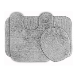 Sands Rug - Cheltenham Platinum Gray Washable Bath Rug (Set of 3) - Add a layer of plush comfort and safety with the inviting Cheltenham bath and spa rug collection. Each piece, whether a bath runner, bath mat or contoured rug, is created from soft, durable, machine-washable nylon. Each floor piece is backed with skid-resistant latex for safety.