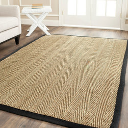 Safavieh - Hand-woven Sisal Natural/ Black Seagrass Runner (2'6 x 14') - Dress up any space with this natural hand-woven rug made from seagrass with a cotton backing. The fringeless border on this rug gives it a clean look.