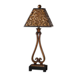 Uttermost - Bracciano Golden Bronze Table Lamp - This elegant lamp really brings it to the table. Made from heavily antiqued metal with burnished edges, it has golden highlights that catch the light. Place one on either end of your sofa, on a console behind your desk or on a table in the entryway.