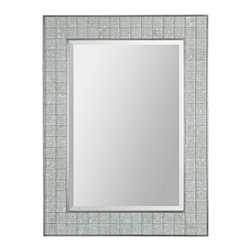 """Uttermost - Contemporary Uttermost Arroscia 39"""" High Decorative Mosaic Wall Mirror - Designed by Billy Moon for Uttermost the Arroscia rectangular wall mirror brings a glamorous modern accent to any wall. The design features a pale green glass mosaic frame with silver finish trim and a beveled mirror pane to reflect light all around the room. The 39"""" high mirror is crafted from mirror glass and MDF. Decorative wall mirror. Rectangular shape. Mirror and MDF construction. Pale green mosaic glass frame with silver trim. Hangs vertically or horizontally. Beveled mirror glass. 39"""" high. 30"""" wide. Mirror glass only is 31"""" high 21 1/2"""" wide.  Decorative wall mirror.  Rectangular shape.  Mirror and MDF construction.  Pale green mosaic glass frame with silver trim.  Hangs vertically or horizontally.  Beveled mirror glass.  39"""" high.  30"""" wide.  Mirror glass only is 31"""" high 21 1/2"""" wide."""