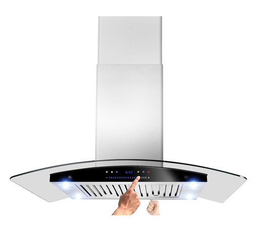 """AKDY - AKDY AK-ZH601C Stainless Steel Island Mount Range Hood, Smoke Glass, 36"""", Duct/P - The Island curved glass 36"""" range hood offers a fashionable and elegant appearance to your kitchen decor. This tempered, curved glass canopy features high-performance filtering without making a lot of noise. The double-sided sliding control panel gives you ability to control the unit on either side. Kitchen appliance has a duct or ductless application. Recirculation kits and charcoal filter for ductless mode needs to be purchased separately. The high-density dishwasher-safe aluminum baffle filters are easy to remove and clean."""