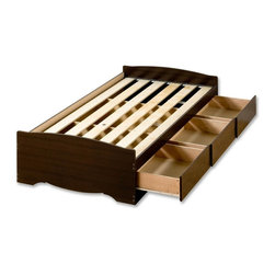 Prepac - Fremont Mate's Platform Storage Bed - * Three drawers. Drawers with solid wood sides glide on metal runners. Finger pulls at bottom of each drawer front for easy opening. Suitable for standard twin-sized mattresses. Wood slats positioned length-wise distributes body weight evenly. CARB-compliant. Total weight capacity: 250 lbs.. Warranty: Five years. Made from laminated composite woods, MDF and plywood. Durable rich espresso finish. Made in North America. Assembly required. Internal drawers: 21.5 in. W x 18 in. D x 5 in. H. Overall: 76.5 in. L x 41 in. W x 18.75 in. HThe Mates Platform Storage Bed does double duty as a bed and dresser. With three generously sized drawers for keeping your linens, blankets and clothes, this bed provides space-saving storage for even the smallest bedroom. No need for a box spring, its slat support system only requires a mattress. Position the drawers on either the right or left side of the bed, depending on the layout of your room, and watch your floor space grow!