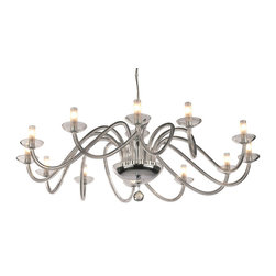 """Inviting Home - Modern Crystal Glass Chandelier - modern style crystal chandelier with twisted crystal glass arms; 41"""" x 16""""H (32 lights); assembly required; 10 light modern crystal chandelier with hand-drawn crystal glass arms twisted in space and cut crystal pendant; all metal parts are chromium plated; genuine Czech crystal; * ready to ship in 2 to 3 weeks; * assembly required; Lighting Vogue Chandeliers. The state-of-the-art techniques for working glass components enable us to create modern shapes typical of the contemporary lighting fixtures' design. Their body consists of plain mouth-blown components such as spatially shaped twisted and hand-decorated tubes or furnace-molded hooks. Design lighting fixtures based on the purity of execution and simple shapes are particularly suitable for illuminating all modern interiors. These chandeliers are manufactured using oxygen fuel technology. Only few manufacturers in Europe that use oxygen fuel technology. This allows for better control and manage the preparation process of glass. The result is impeccably pure glass of highest quality with minimal amount of visual irregularities. Every component passes thorough strict internal Quality Control processes. Highest quality European production with certified standards. UL approved - dry location; hardwire; 10x E12/14 - 40W bulbs; bulbs not included. 3 to 4 feet chain drop provided. Hand crafted in Czech Republic."""