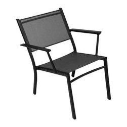 "Fermob - Costa Stacking Low Armchair Set of 2 by Fermob - The Fermob Costa Stacking Low Armchair Set of 2 is as well-suited to lounging near the beach as it is on the deck. It is at once sophisticated and laidback, what with the clean lines and slightly reclined stance of its aluminum frame. Translucent Outdoor Technical Fabric (OTF) maintains the airy look and provides a comfortable seat. Based in Thoissey, France, Fermob has been creating fine outdoor furniture since 1953. Their current line of colorful and comfortable aluminum and steel furniture promotes the ""Outdoor Lounge"" way of life. It encourages outdoor rest and relaxation while caring for, protecting and improving the environment it inhabits. All Fermob outdoor furniture is made in France out of recyclable materials."