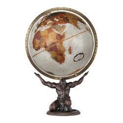 Replogle - Atlas Desktop World Globe - Unique desktop world globe shows focused strength. Zeus forces Atlas, a Titan, to repent for his sins against the gods of ancient Greece by forcing him to support the world on his shoulders.