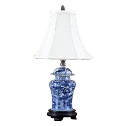 Oriental Danny - Blue and white jar lamp - This sweet blue and white jar lamp is great for small area. Dresses in silk shade. 60 watts, 3 way switch, UL listed