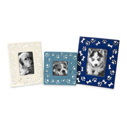 IMAX Worldwide - IMAX Worldwide Transitional Dog Bone Ceramic Photo Frames in White, Blue (Set of - Your best, four-legged friend deserves to be framed in these fun, colorful ceramic photo frames decorated with dog bone and paw print cutouts.