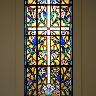 Church Stained Glass Windows - This is one of four large Stained Glass  Church Windows, DbyD-7315,  designed and built for Young Meadows Presbyterian Church in Montgomery, Alabama.  All of the windows are located in places that do not have natural lighting and required back lighting.  We worked with the architectural firm and a lighting representative to help work out the lighting.