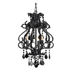 Currey and Company Valentina Chandelier Small - This lovely glass chandelier is sophisticated, elegant and a little Goth.