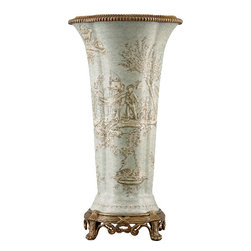 Oriental Danny - Porcelain Vase with Bronze Ormolu - For a very special flower bouquet, only an elegant, traditional porcelain vase with bronze ormolu handles will do.  Feature this footed vase in a grand entryway or as a focal point in the dining room for maximum effect.