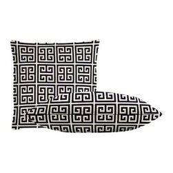 "Cushion Source - Greek Key Throw Pillow Set - The Greek Key Throw Pillow Set consists of 18"" x 18"" cotton duck throw pillows with a timeless Greek Key print in navy and natural."