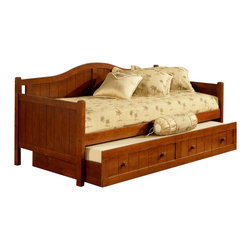 Hillsdale Furniture - Staci Daybed w Trundle Drawer in Cherry - Set includes Daybed and Trundle. This daybed is composed of solid wood and climate controlled wood composites. Cherry color. Minor assembly required. Back: 37 in. H x 81.5 in. L. Arms: 34 in. H x 41 in. D. Trundle: 13 in. H x 77.13 in. L x 40.5 in. WFeaturing a traditional cottage beadboard design and a classic arched silhouette, boasts three classic and versatile finishes: Black, Cherry, and White.