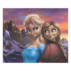 Disney Fine Art - Disney Fine Art Sisters of Arendelle by James Mulligan - Sisters of Arendelle by Disney Fine Art  -  From Walt Disney's Frozen  -  Hand Signed By The Artist: James Mulligan  -  Medium: Hand-Embellished Canvas  -  Size: 20 Inches Tall x 24 Inches Wide  -  Limited To 95 Pieces World Wide Worldwide  -  Produced by Collector's Editions  -  Fully Authorized Disney Fine Art Dealer  -  Ships Rolled in a Tube  -  From The Walt Disney Motion Picture Frozen