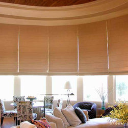 Motorized Roman Shades - Individual sewn-in-pleat Roman shades