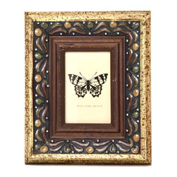 """Traders and Company - Enamel Inlaid 4x6 Wood Picture Frame w/ Jewels, 9.5""""Lx1.5""""Wx11.75""""H - Hawthorne - Crafted from wood and given a classically antiqued look, each frame is dramatically inlaid with swirled resinous enamel. Embedded colorful rhinestone jewels dot the design, adding sparkle and shimmer to your photos. Each frame comes with an attached kickstand for desktop use, or hooks for vertical or horizontal wall hanging. Fits 4""""x6"""" photos. Alternate shapes & styles sold separately. Dimensions: 9.5""""Lx1.5""""Wx11.75""""H"""