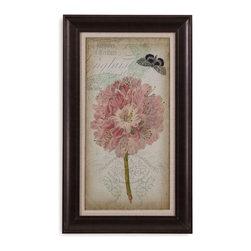 Bassett Mirror - Bassett Mirror Framed Under Glass Art, Cartouche & Floral II - Cartouche & Floral II