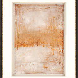Paragon Decor - Rustic Poplars Artwork - A golden forest appears blanketed in snow on a winter's evening.