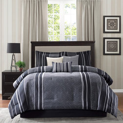 Madison Park - Madison Park Beldon 7-piece Comforter Set - The Madison Park Beldon Comforter Collection gives a modern edge along with casual stripes. Created with menswear fabrics in mind,the comforter set is made with a grey menswear fabric that features a herringbone weave.
