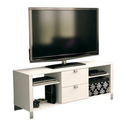 South Shore - South Shore Affinato Contemporary TV Stand in White - South Shore - TV Stands - 4260600 - This TV stand features both open and closed storage options for easy of access to electronics and to help maintain a tidy living space. Benefit from a well organized family room with the multiple storage compartments. In addition the wire holes in the back allow you connect all your electronic devices with ease.
