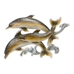 """Metal Dolphins Sculpture - The metal dolphins sculpture measures 29"""" x 20"""". This item features three beautiful metal dolphins that are made to look like they are swimming in the water. This item will add a definite nautical touch to wherever it is placed and is a must have for those who appreciate high quality nautical decor. It makes a great gift, impressive decoration and will be admired by all those who love the sea."""