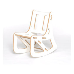Quark Enterprises - Kids Rocking Chair, White - This contemporary rocking chair looks like the perfect place for a kid to relax. It would be a stylish addition to your playroom, and it's a breeze to put together without any tools required.