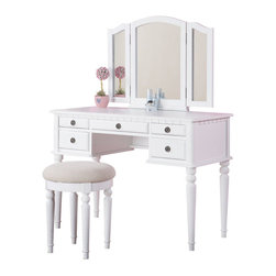 Adarn Inc. - Tri Folding Mirror Make Up Table Vanity Set Wood w/ Stool 5 Drawers, White - Introducing this beautiful brand new transitional style vanity table set. Featuring solid wood and veneer construction and comes in White/ Walnut/ Cherry/ Black finish. This vanity has five drawers with antiqued bronze accents for storage and to keep your surface-top clutter free. A tri-folding mirror is the focal point of this vanity and can be adjusted to be able to view your face and hair from all angles. Traditionally styled table legs and clean lines give this table a transitional contemporary vibe. Comes with a matching seat bench with a cushioned seat upholstered in patterned fabric.
