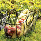 """Achla - Small Harvest Basket - Carry the fruits of the Earth in all their glory with our popular Small Harvest Basket.  It's crafted of steel and powdercoated in black for lasting durability, yet still is amazingly light.  Measures 23"""" by 12"""" and is 10"""" deep. * Steel. 12 W x 23 L x 10 H in."""
