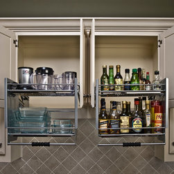 ShelfGenie Glide-Out Shelves - Don't let the upper cabinets get you down!  Pull down shelves give you access without the elevator shoes!