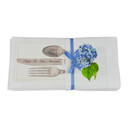 Mark Lake Thompson - Hydrangea Pocket Napkin Set - Slip your silverware right into these beautiful blooming pocket napkins!