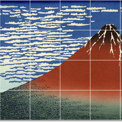 Picture-Tiles, LLC - Red Fuji Southern Wind Clear Morning Tile Mural By Katsushika Hokusai - * MURAL SIZE: 32x48 inch tile mural using (24) 8x8 ceramic tiles-satin finish.