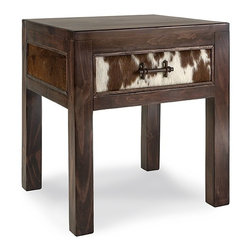 iMax - Durango Cowhide Solid Wood Accent Table - Durango cowhide solid wood accent table.